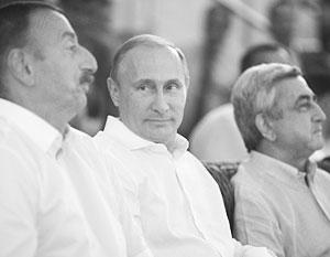 Ильхам Алиев, Владимир Путин и Серж Саргсян на встрече в Сочи в августе 2014 года