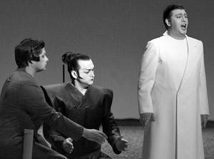 Заслуженный артист России Андрей Григорьев (партия Шарплес), Марат Галиахметов (партия Горо) и Роман Муравицкий (партия Пинкертон)  в опере