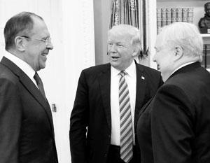 Лавров, Трамп и Кисляк (посол России в США) смеются над шпиономанией американской прессы