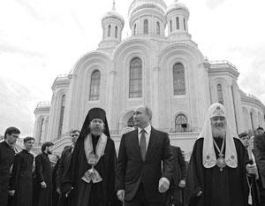 Президент Путин с епископом Тихоном и патриархом Кириллом в Сретенском монастыре