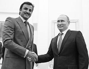 Эмир Тамим и Владимир Путин в январе 2016 года в Кремле