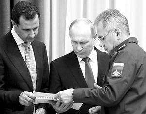 Глава Минобороны Сергей Шойгу, в сентябре встречавшийся с Асадом в Дамаске, сейчас принял участие в беседе двух президентов в Сочи