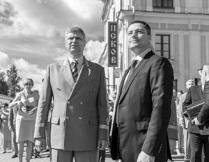 Глава РЖД Олег Белозеров и и. о. губернатора Псковской области Михаил Ведерников