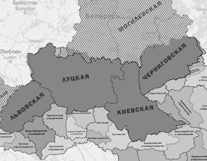 В 17-м веке Киевская митрополия владела совершенно иной территорией, в том числе нынешней Белоруссией и Латвией