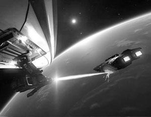 Так представляют себе применение лазерного оружия в космосе фантасты. На самом деле все выглядит совсем иначе