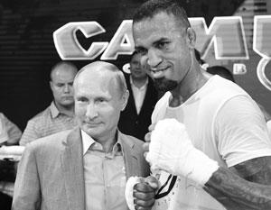 Владимир Путин на чемпионате мира по самбо в Сочи