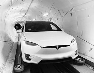Так выглядел испытательный заезд в новом тоннеле Маска