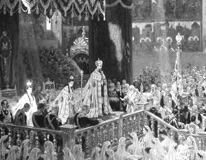 Фото:  «Коронование Николая II в Успенском соборе Московского Кремля 14 мая 1896 года»<br>/Туксен Лауриц