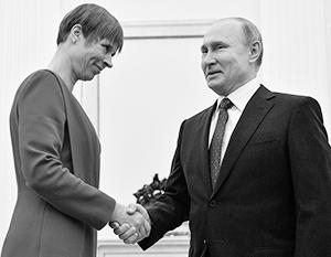 «Давно не виделись», – заметил Владимир Путин, приветствуя в Москве коллегу – президента Эстонии Керсти Кальюлайд