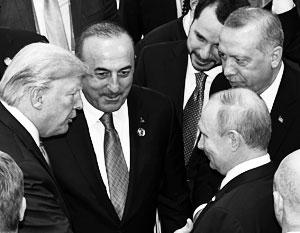 Реджеп Эрдоган и его министр иностранных дел в обществе Трампа и Путина