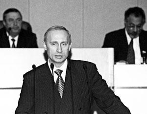 Владимир Путин во время утверждения его Госдумой председателем правительства 16 августа 1999 года