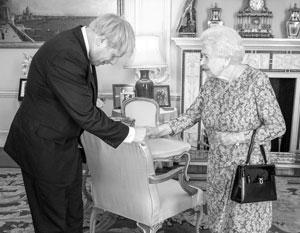 Борис Джонсон на приеме у королевы Елизаветы Второй