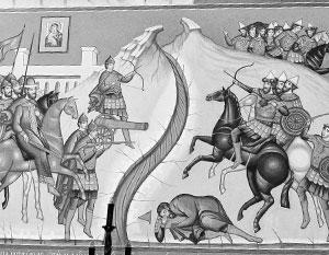 Роспись во Владимирском храме, который поставлен на месте стояния на реке Угре