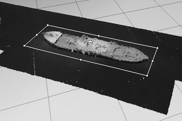 Так выглядит сонограмма – изображение «Челюскина» на дне, полученное с помощью исследования звуком и обработанное компьютером