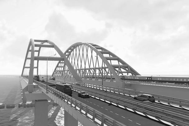 В обновленной 3D-визуализации арки Крымского моста представлены с максимально точным отображением технических решений, реализуемых при строительстве моста. Трехмерная модель моста создана на основе рабочей документации проекта, но постоянно уточняется и дополняется