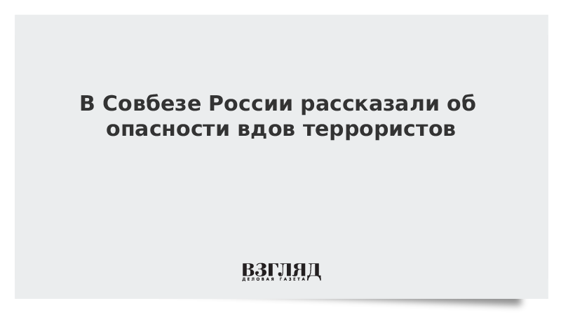В Совбезе России рассказали об опасности вдов террористов