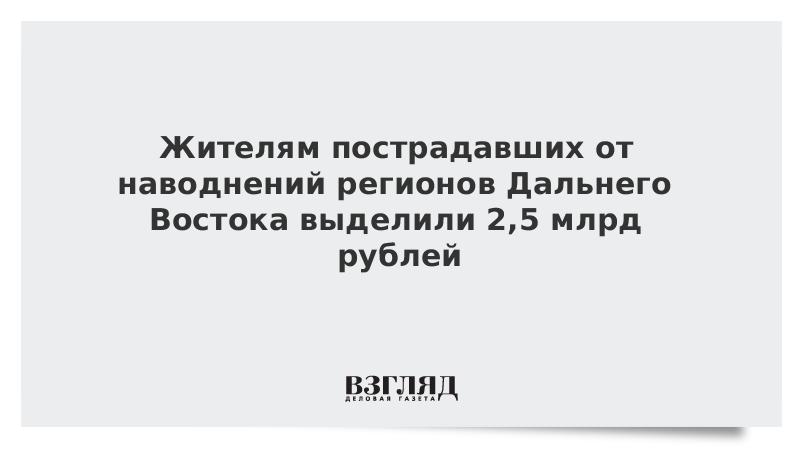 Жителям пострадавших от наводнений регионов Дальнего Востока выделили 2,5 млрд рублей