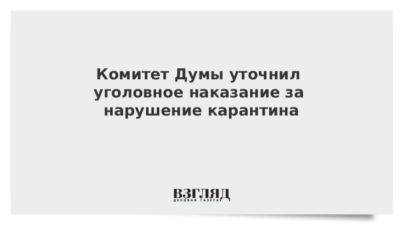 Комитет Думы уточнил уголовное наказание за нарушение карантина