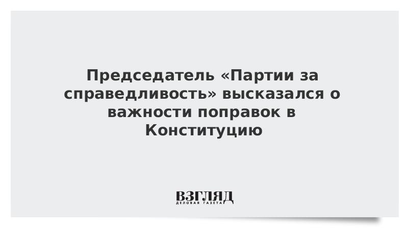 Председатель «Партии за справедливость» высказался о важности поправок в Конституцию