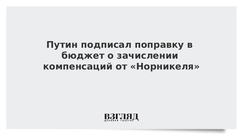 Путин подписал поправку в бюджет о зачислении компенсаций от «Норникеля»