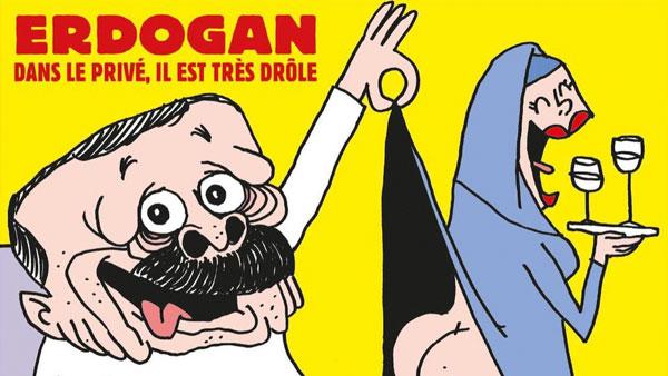 Charlie Ebdo подразумевают, что турецкий лидер религиозен только на словах, а в быту ни в чем себе не отказывает