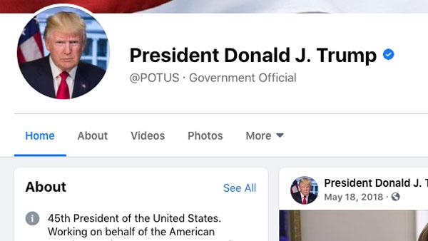 Страницы Трампа в Facebook и Instagram разблокировали