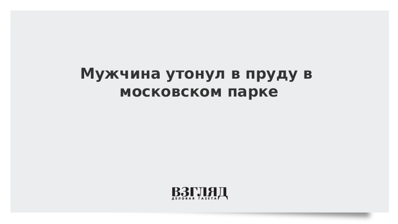 Мужчина утонул в пруду в московском парке