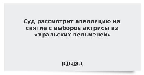 Суд рассмотрит апелляцию на снятие с выборов актрисы из «Уральских пельменей»