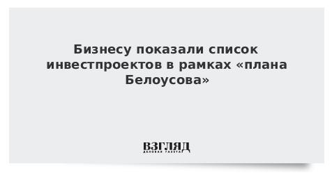Бизнесу показали список инвестпроектов в рамках «плана Белоусова»