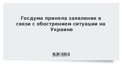 Госдума приняла заявление в связи с обострением ситуации на Украине