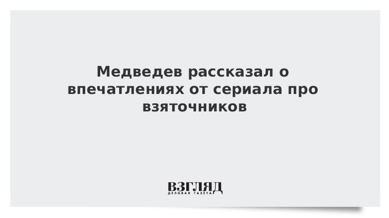 Медведев рассказал о впечатлениях от сериала про взяточников