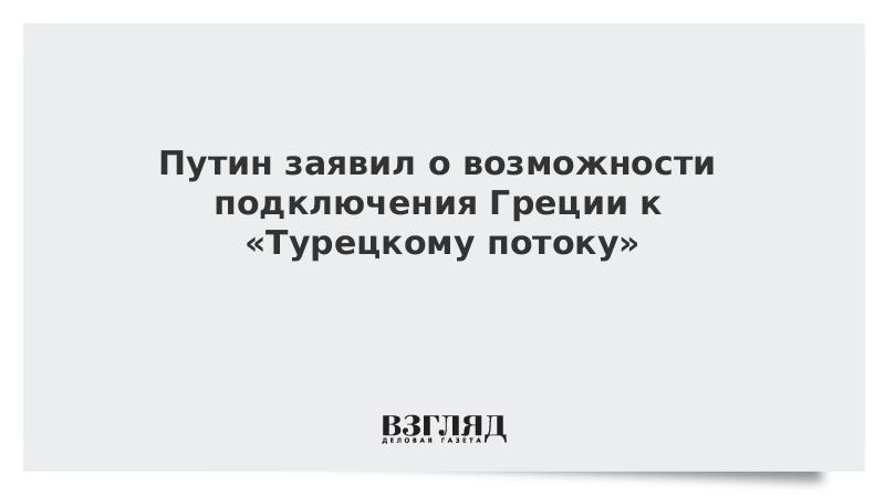 Путин заявил о возможности подключения Греции к «Турецкому потоку»