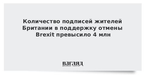 Количество подписей жителей Британии в поддержку отмены Brexit превысило 4 млн