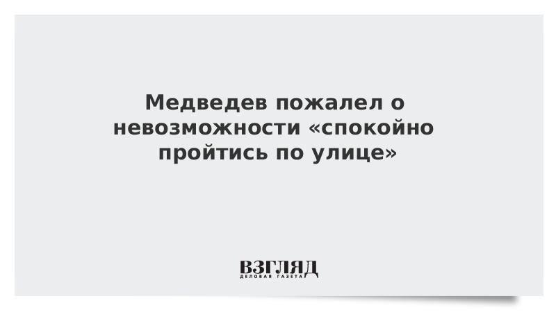 Медведев пожалел о невозможности «спокойно пройтись по улице»