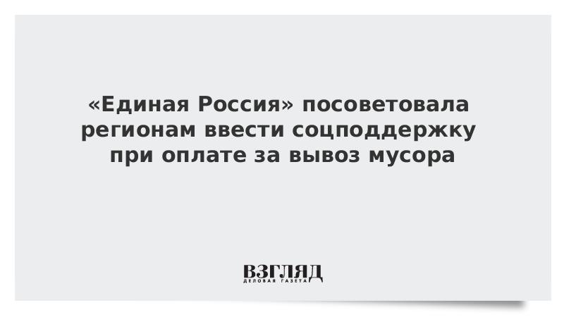 «Единая Россия» посоветовала регионам ввести соцподдержку при оплате за вывоз мусора