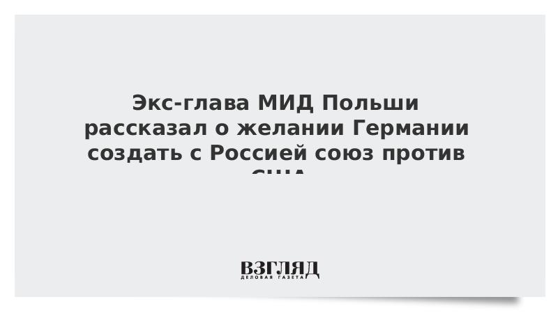 Экс-глава МИД Польши рассказал о желании Германии создать с Россией союз против США