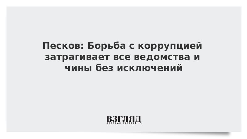 Песков: Борьба с коррупцией затрагивает все ведомства и чины без исключений