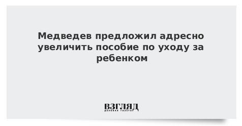 Медведев предложил адресно увеличить пособие по уходу за ребенком