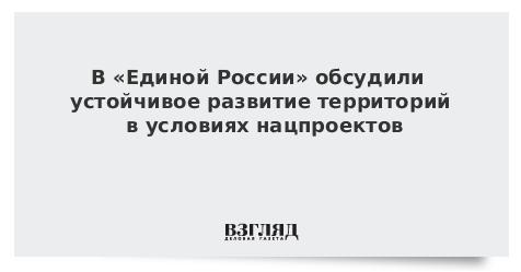 В «Единой России» обсудили устойчивое развитие территорий в условиях нацпроектов